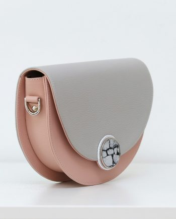 Bags by Kristina grey leather saddle bag Signorina