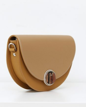 Bags by Kristina brown leather saddle bag Signorina